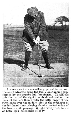 Precisely Vardon - Grip formed by the thumbs and fore-fingers