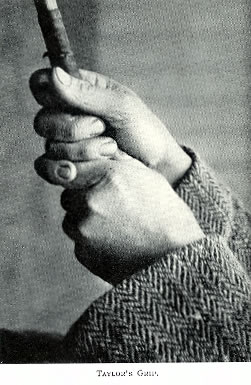 J H Taylor's overlapping grip right thumb curled around the shaft not over it