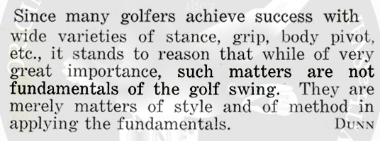 Stance grip body pivot etc while important matters not golf fundamentals