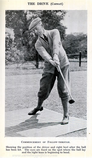 Showing the position of the driver and rightheel after the ball has been hit. Bert Seymour, 1924.